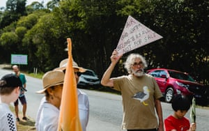 Tamborine Mountain residents protest amid the town's water crisis.