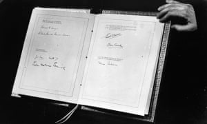 The North Atlantic Treaty, showing the signatures of the foreign secretaries and ambassadors of the original members of NATO.