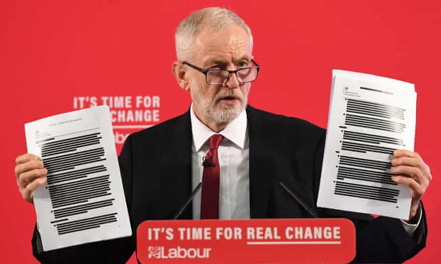 Jeremy Corbyn holds up redacted documents of secret talks between the UK and US, during a speech on the NHS in London, November 2019.