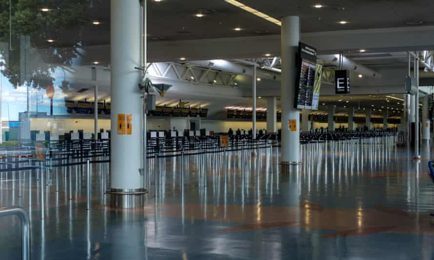 The empty departures lounge at Auckland international airport on 4 April, 2020