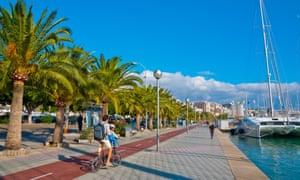 Cycling lane, Paseo Maritimo, Palma,