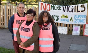 The pro-choice campaigners Richard Tall, Carol O'Donaghue and Bunny Veglio outside the Marie Stopes clinic in Ealing.