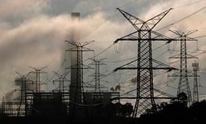 Power lines run from Liddell power station.