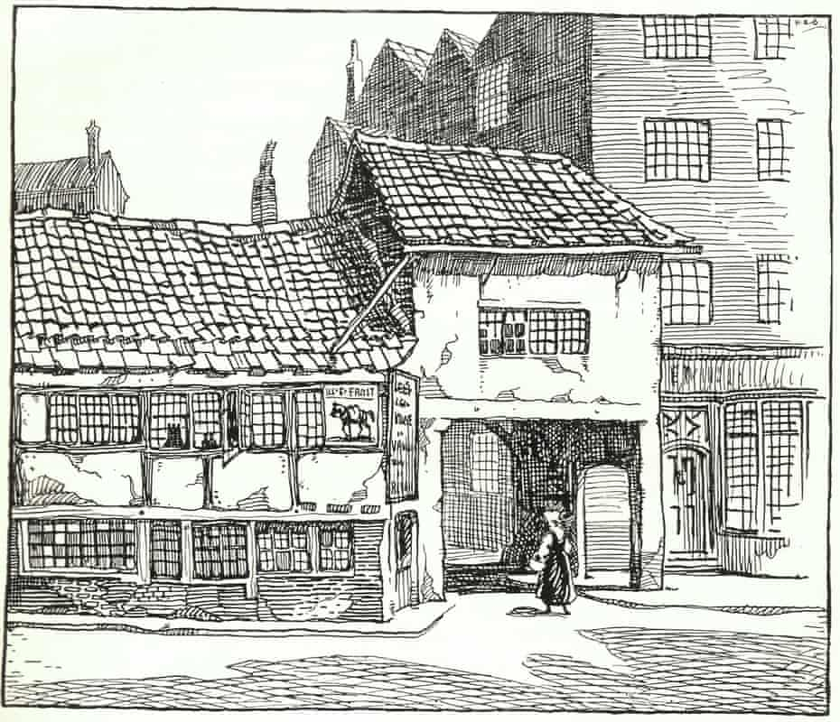 The site of the Manchester Guardian building as it was in 1821.