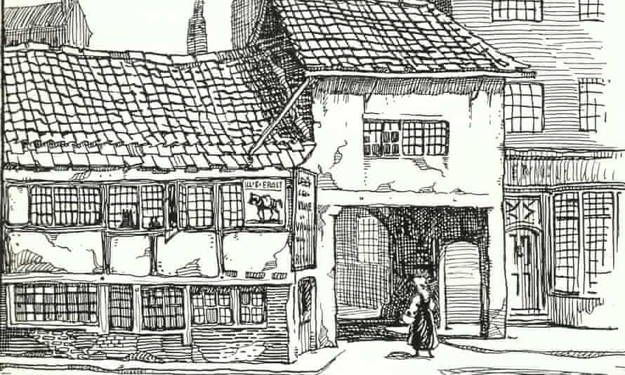 The site of the Manchester Guardian building in 1821, from The Manchester Guardian – A Century of History by W. Haslam Mills (London, 1921). Illustrator unknown.