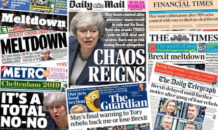 The front pages of the UK papers on 14 March 2019