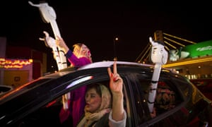 Iranians in Tehran celebrating nuclear deal