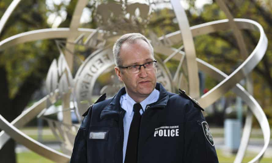 AFP deputy commissioner of investigations Ian McCartney speaks to the media in Canberra