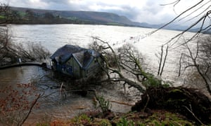 Storm Desmond's legacy: trees felled by wind and heavy rain, at Ullswater, Cumbria, pictured 7 December.