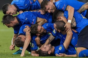 Rome, Italy Italy players celebrate their second goal during the Euro 2020 match against Switzerland at the Olympic stadium