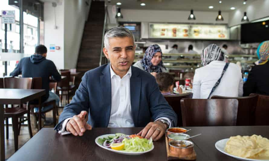 Sadiq Khan at a restaurant in his Tooting constituency.