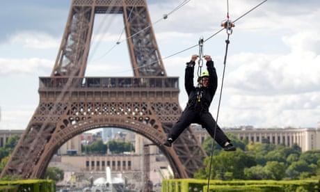 Eiffel Tower zipline offers a birds-eye view of Paris - video