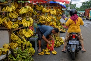 Jakarta, Indonesia: bananas are seen for sale at a roadside market stall