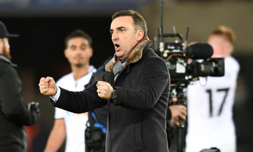 Carlos Carvalhal celebrates victory over Liverpool as Swansea continue their remarkable revival.