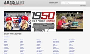 The front page of Armslist.com, an online seller of guns.