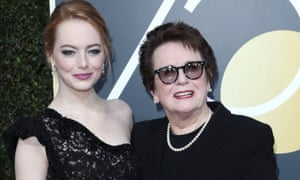 Billie Jean King with Emma Stone.