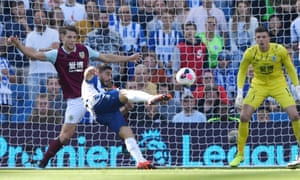 Brighton and Hove Albion's Neal Maupay scores their first goal with a stylish finish.