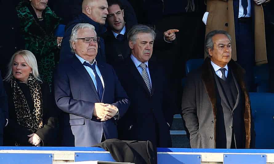 Ancelotti, Bill Kenwright and Farhad Moshiri (right) watch Everton's 0-0 draw with Arsenal.