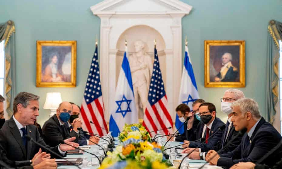 The US secretary of state, Antony Blinken, in discussions with the Israeli foreign minister, Yair Lapid.