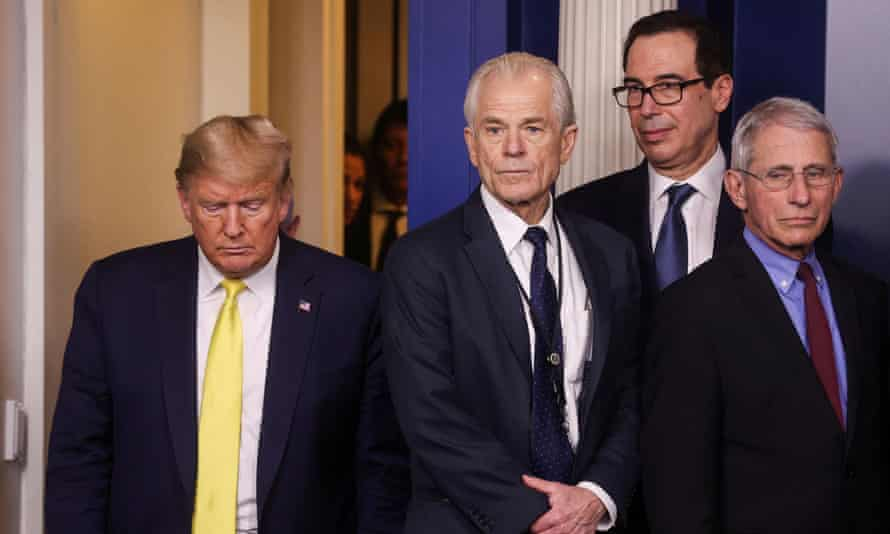 Donald Trump, Peter Navarro, Steve Mnuchin and Anthony Fauci.