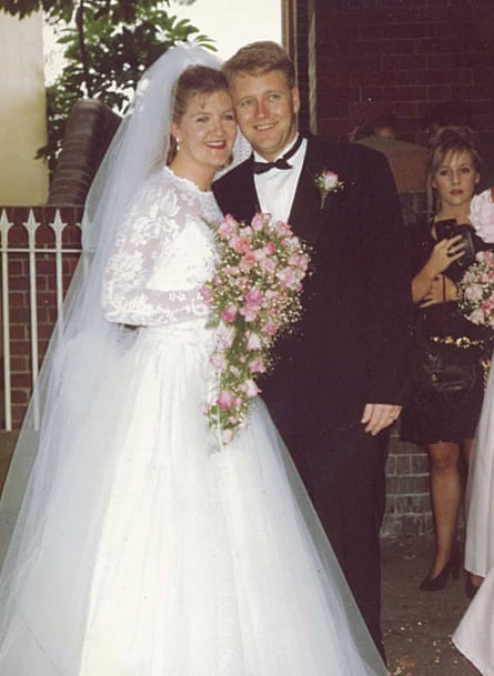 Megan Holgate and her late husband Steven pictured on their wedding day.