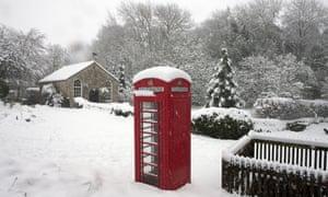 Snow in Duntisbourne Abbots, Gloucestershire on Sunday.