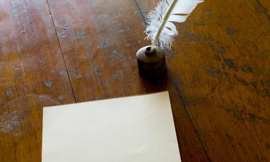 Revolutionary not-ness … a quill pen beside a blank sheet of paper.