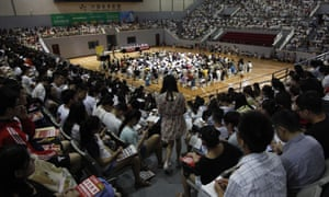 Students prepare for postgraduate entrance exam in Jinan city, Shandong province, China.