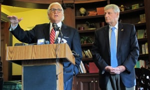 Maryland Senate president Thomas V Mike Miller, left, and House speaker Michael Busch discuss an FBI briefing.