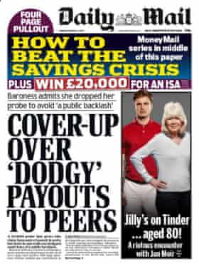 Daily Mail front page, 13 March, 2017.