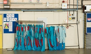 Skydiving suits hanging up at Netheravon airfield