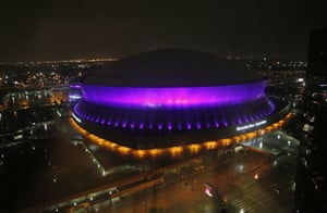 New Orleans, US The Mercedes-Benz Superdome is lit up in the colour purple