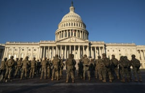 Guard patrol outside the US Capitol.