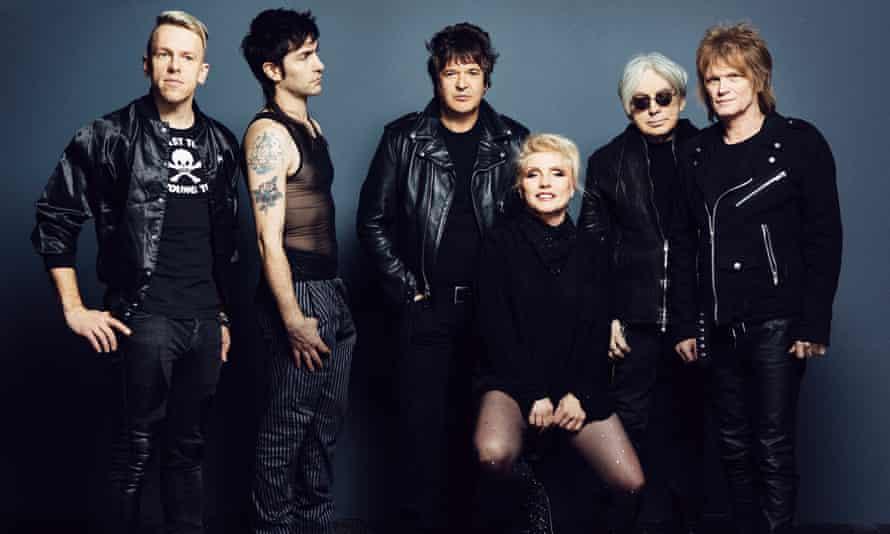 Blondie members (left to right) Tommy Kessler, Matt Katz-Bohen, Clem Burke, Debbie Harry, Chris Stein and Leigh Foxx.