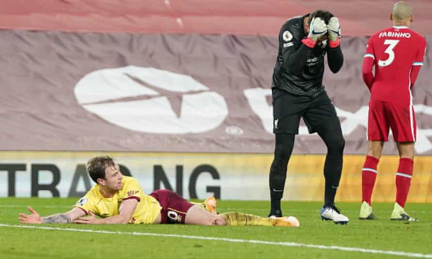 In January, Liverpool goalkeeper Alisson Becker fouled Ashley Barnes for the winning penalty.