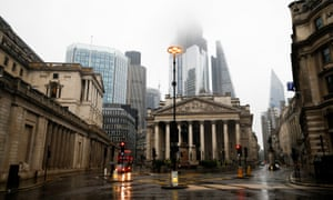 The Bank of England during raining weather