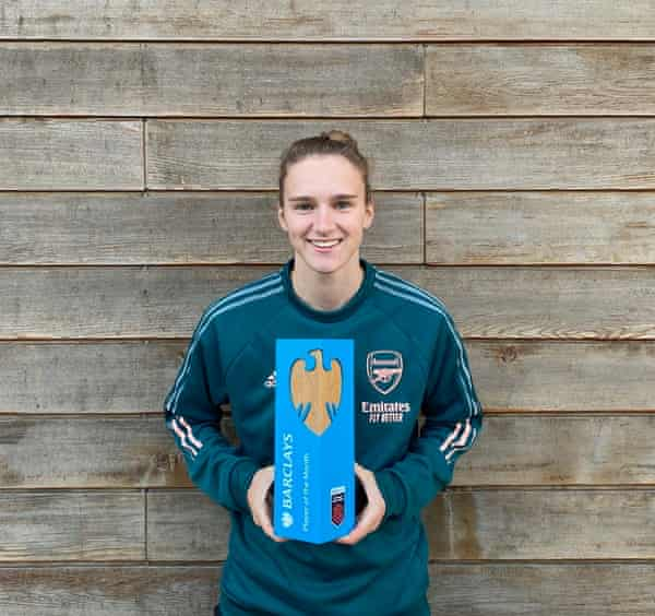 Vivianne Miedema poses after winning the Barclays WSL player of the month award for October.