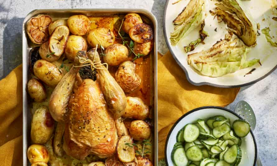 Roast chicken with sweet-and-sour cucumber salad.