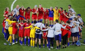 US players celebrate after the Women's World Cup semifinal.