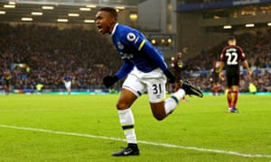 Ademola Lookman celebrates after scoring on his Everton debut against Manchester City.