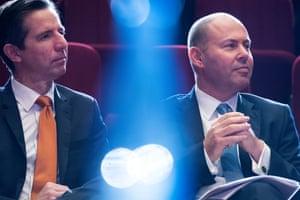 Finance minister Simon Birmingham (left) with the treasurer Josh Frydenberg.