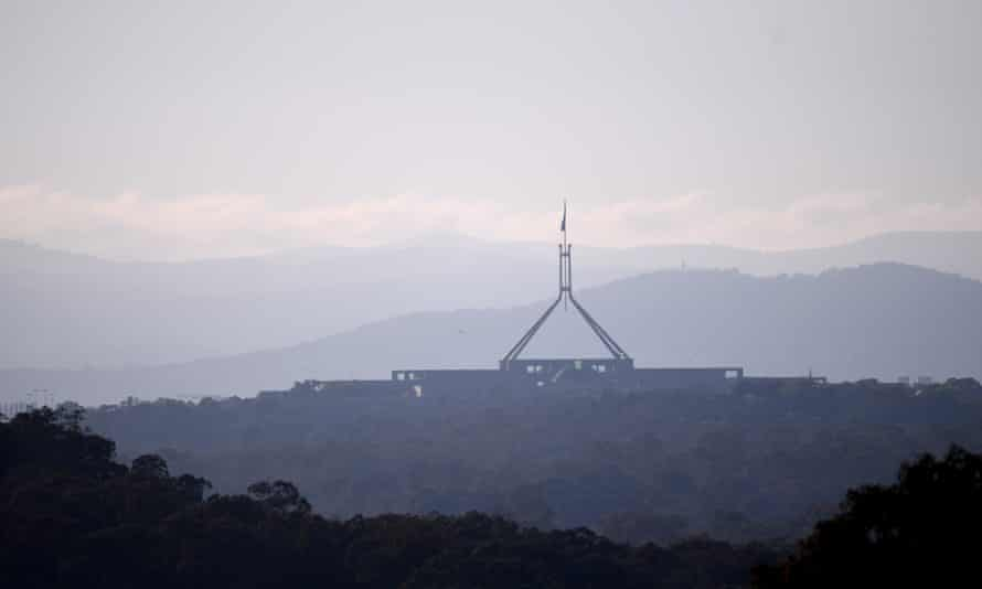 Early morning view of Parliament House in Canberra