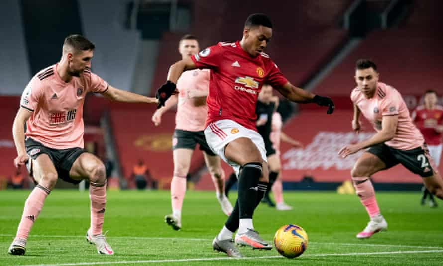 Anthony Martial in action for Manchester United against Sheffield United on Wednesday.