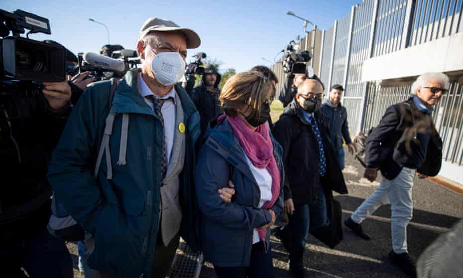 Giulio Regeni's parents arrive for the trial in Rome.