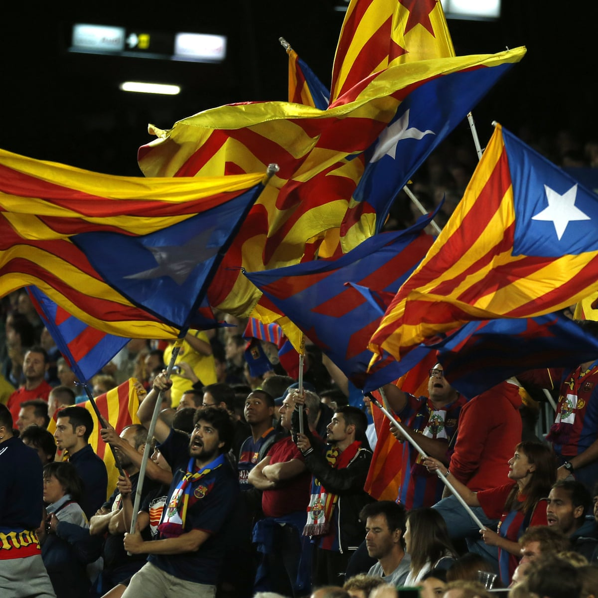barcelona will fight second uefa fine for catalonia independence flags barcelona the guardian barcelona will fight second uefa fine