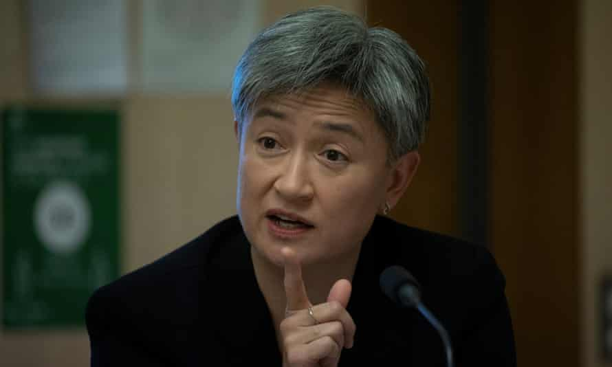 Labor Senator Penny Wong questions the head of PM & C Phil Gaetjens at the senate Finance and Public Administration legislation committee in parliament house in Canberra this morning, 25 May 2021.