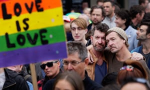 Large crowds gathered at Sydney's Taylor Square in support of marriage equality on Sunday.
