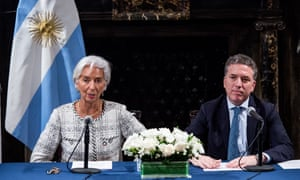 IMF managing director Christine Lagarde and Argentine economy minister Nicolas Dujovne during a press conference in the Argentinian Consulate in New York, after agreeing a $57bn bailout