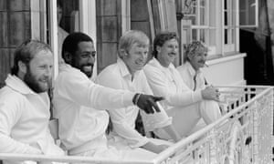(Left to right): Vic Marks, Viv Richards, Brian Rose, Ian Botham and Peter Denning on the Lord's balcony during Somerset's victory over Nottinghamshire in the 1982 Benson & Hedges Cup Final.