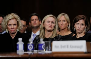 Family members of Kavanaugh, including his wife Ashley (right) and mother Martha (left), listen during his testimony